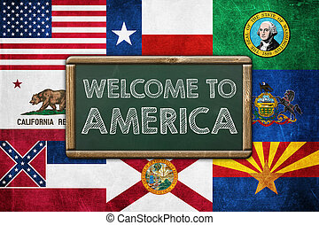 WELCOME TO AMERICA - vintage background concept