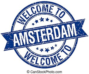 welcome to Amsterdam blue round ribbon stamp