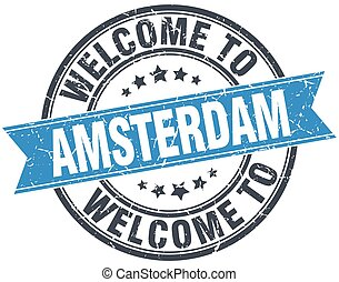 welcome to Amsterdam blue round vintage stamp