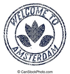 Welcome to Amsterdam flat color illustration on white