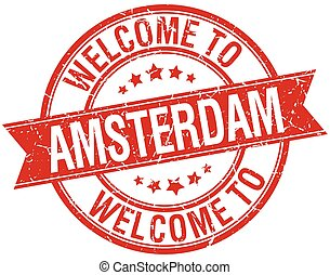 welcome to Amsterdam red round ribbon stamp