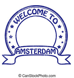 Stamp with text welcome to Amsterdam inside, vector illustration