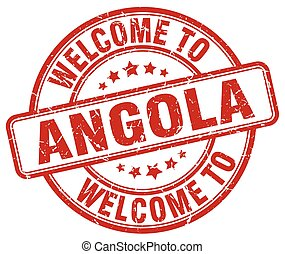 welcome to Angola red round vintage stamp
