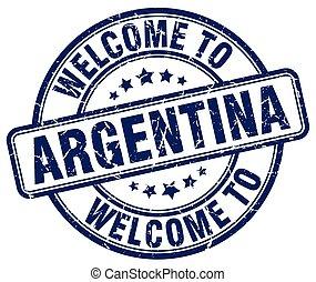 welcome to Argentina blue round vintage stamp