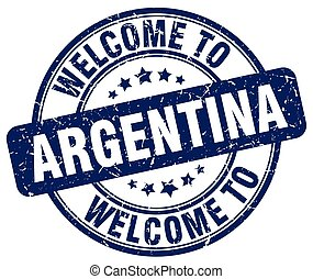 welcome to Argentina blue round vintage stamp