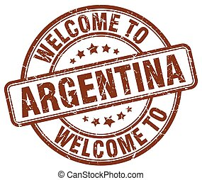 welcome to Argentina brown round vintage stamp