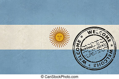 Welcome to Argentina flag with passport stamp