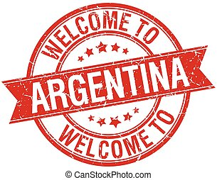 welcome to Argentina red round ribbon stamp