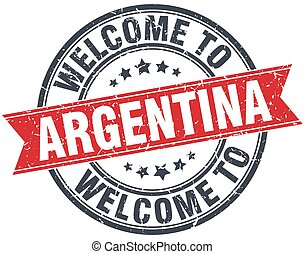 welcome to Argentina red round vintage stamp
