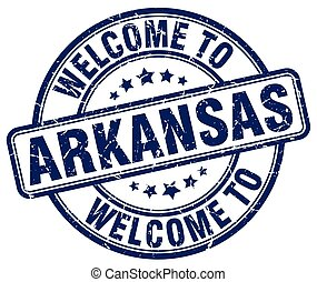 welcome to Arkansas blue round vintage stamp