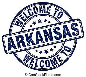 welcome to Arkansas blue round vintage stamp