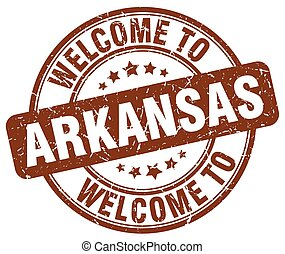 welcome to Arkansas brown round vintage stamp
