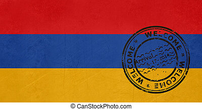 Welcome to Armenia flag with passport stamp
