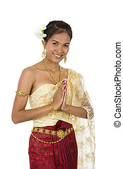 welcome to asia - beautiful asian with welcome expression,...