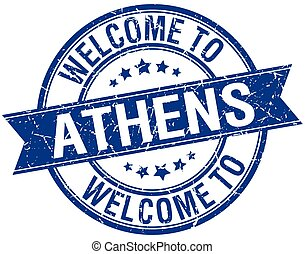 welcome to Athens blue round ribbon stamp