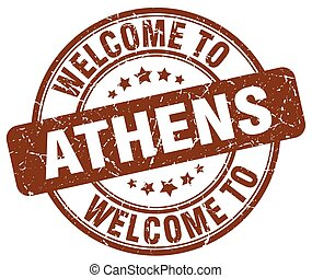 welcome to Athens brown round vintage stamp