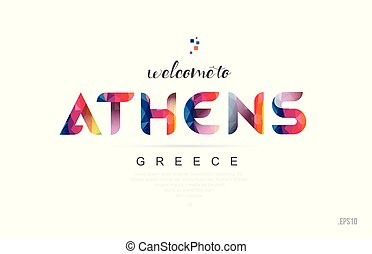 Welcome to athens greece card and letter design typography icon