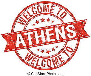 welcome to Athens red round ribbon stamp
