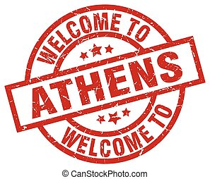 welcome to Athens red stamp
