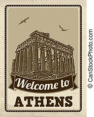 Welcome to Athens retro poster