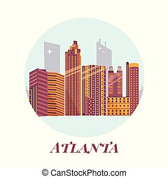Welcome to Atlanta poster. View on city skyscrapers