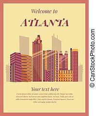 Welcome to Atlanta poster. Vintage card