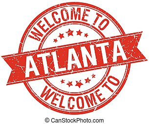 welcome to Atlanta red round ribbon stamp