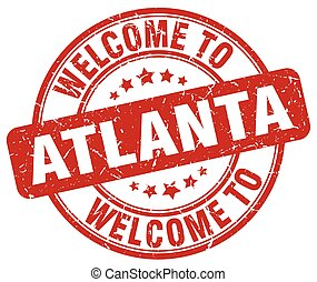 welcome to Atlanta red round vintage stamp