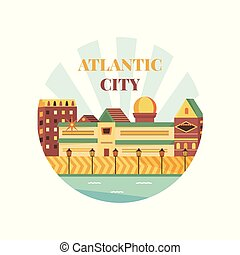 Welcome to Atlantic City poster. View on city