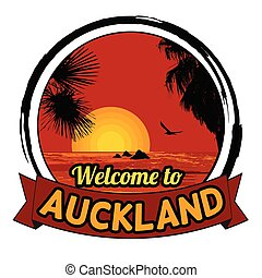 Welcome to Auckland concept in vintage graphic style
