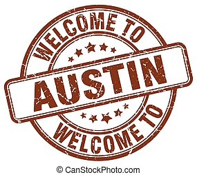 welcome to Austin brown round vintage stamp
