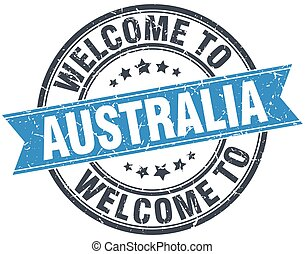 welcome to Australia blue round vintage stamp