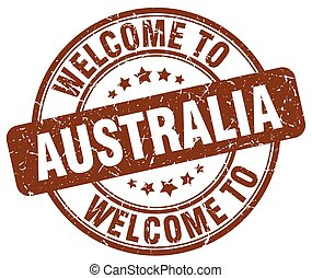 welcome to Australia brown round vintage stamp