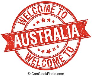 welcome to Australia red round ribbon stamp