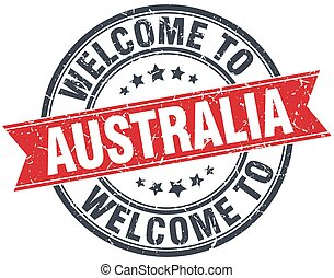 welcome to Australia red round vintage stamp
