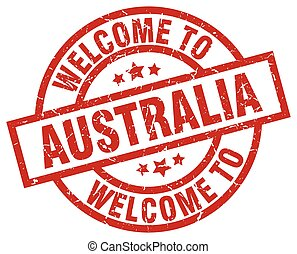 welcome to Australia red stamp