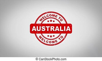 Welcome to AUSTRALIA Signed Stamping Text Wooden Stamp...