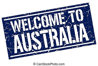 welcome to Australia stamp