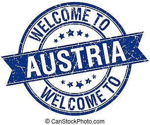 welcome to Austria blue round ribbon stamp