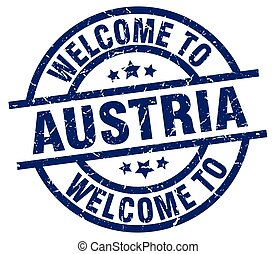 welcome to Austria blue stamp