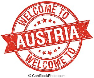 welcome to Austria red round ribbon stamp