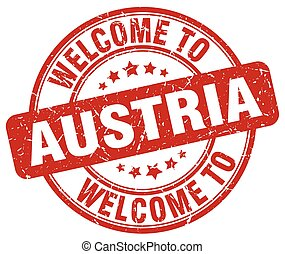 welcome to Austria red round vintage stamp
