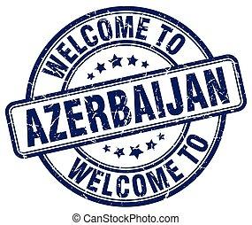 welcome to Azerbaijan blue round vintage stamp