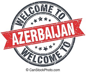 welcome to Azerbaijan red round vintage stamp
