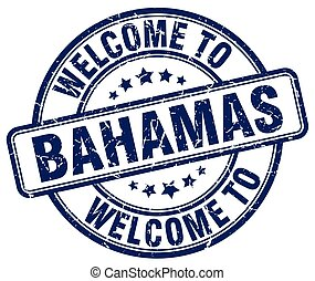 welcome to Bahamas blue round vintage stamp
