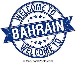 welcome to Bahrain blue round ribbon stamp