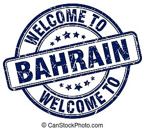 welcome to Bahrain blue round vintage stamp