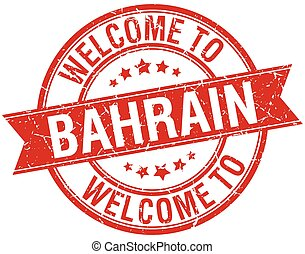 welcome to Bahrain red round ribbon stamp