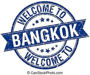 welcome to Bangkok blue round ribbon stamp