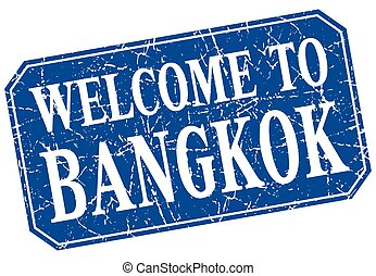 welcome to Bangkok blue square grunge stamp